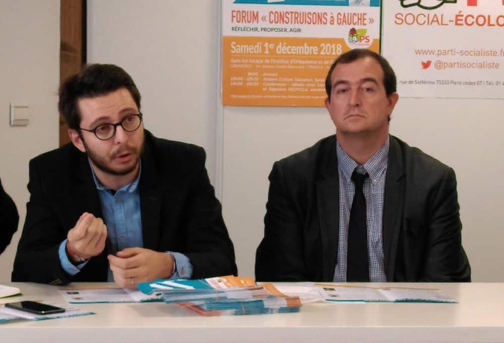 En 2018, Maxence Alloto (à droite), aux côtés du premier secrétaire PS de l'Isère Christophe Bouvier, voulait relancer la dynamique socialiste sur Grenoble © Florent Mathieu - Place Gre'net