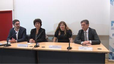 De gauche à droite : Sacha Ghozlan, président de l'UEJF, Frédérique Vidal, Minitre de l'enseignement supérieur, Ines Ammar, vice-présidente de l'UEJF et Patrick Levy, président de l'Université Grenoble-Alpes. © Joël Kermabon - Place Gre'net
