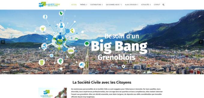 """page d'accueil du site web flambant neuf, """"La société civile avec les citoyens"""". © La société civile avec les citoyens"""