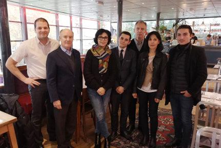 De gauche à droite : Olivier Corneloup, Adrien Fodil, Dominique Spini, Romain Branche, Jean-Luc Rizzi, Sharah Bentaled et Antony Moulin. © Joël Kermabon - Place Gre'net