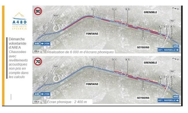 Elargissement de l'A480 : scénarios à 90 et 70 km/h : un peu plus, un peu moins de mur anti-bruit (document extrait du dossier d'enquête publique)