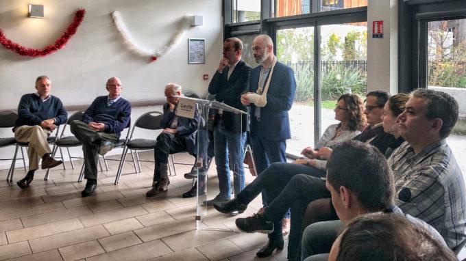 Matthieu Chamussy et Stéphane Gemmani lors de la présentation des premiers engagement du collectif. © Grenoble 2020 nous rassemble.