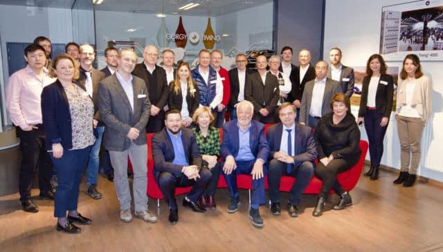 La fondation UGA, l'université, le CSUG et l'entreprise Gorgy Timing. Tous les acteurs de ce nouveau partenariat étaient présents pour la soirée. © Université Grenoble Alpes