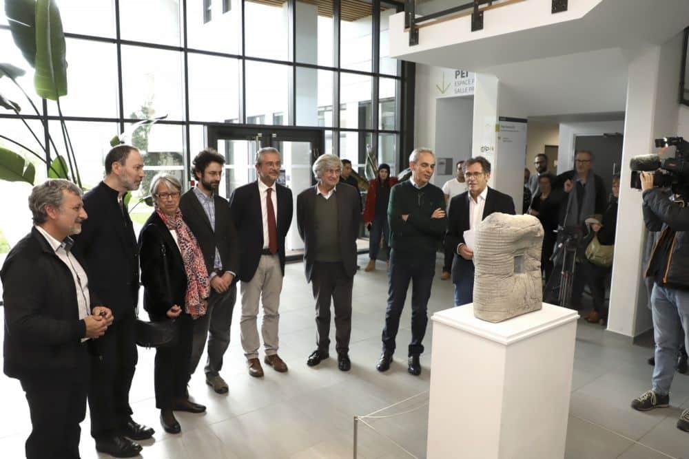 Dévoilement de la sculpture de Giuseppe Penone au sein du laboratoire 3SR le mardi 4 décembre 2018 © Université Grenoble Alpes