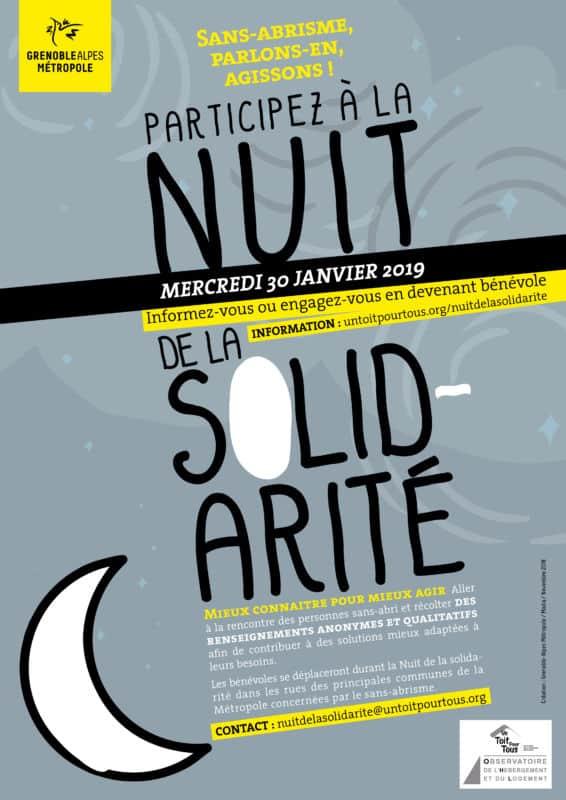 Affiche de la Nuit de la solidarité. La Métro va t-elle « redécouvrir la lune » ? © Grenoble Alpes Métropole