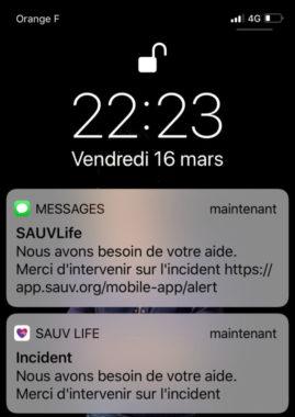 Le SMS envoyé par la régulation du Samu. © Sauv Life