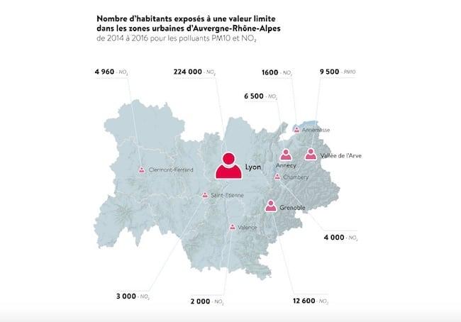 Impact des pollutions au dioxyde d'azote (NO2) et aux particules fines PM10 dans la région Auvergne Rhône-Alpes entre 2014 et 2016 (carte extraite du bilan 2017 d'Atmo)