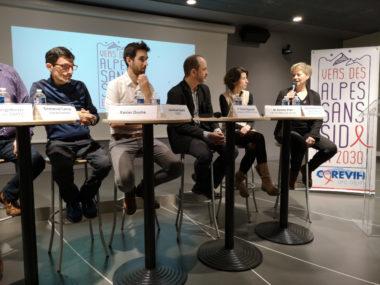 Présentation de la campagne « Des Alpes sans sida 2030 » au CHU Grenoble-Alpes. © Joël Kermabon - Place Gre'net