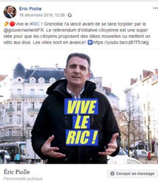 Le maire de Grenoble Eric Piolle et sa vidéo Vive de le Ric sur Facebook