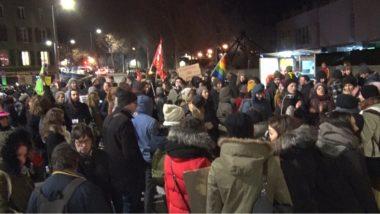 Une centaine de militants de la cause féministe ont protesté contre la tenue de conférences organisées par l'association pro-vie Alliance Vita à Grenoble.© Joël Kermabon - Place Gre'net