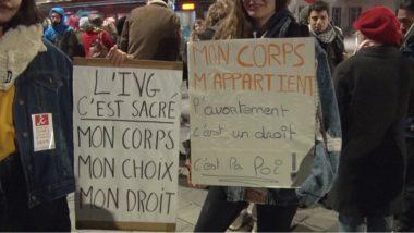 Manifestation contre la tenue de conférences organisées par pro-vie Alliance Vita à Grenoble. © Joël Kermabon - Place Gre'net