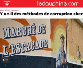 Une de l'article du Dauphiné libéré s'interrogeant sur des faits de corruption visant des placiers de Grenoble. DR