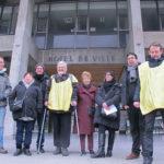 UNE Le collectif contre les démolitions imposées à la Villeneuve demande au maire de Grenoble d'organiser un Référendum d'initiative citoyenne, mardi 8 janvier 2019. © Séverine Cattiaux – Place Gre'net
