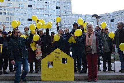 Le collectif contre les démolitions imposées et des habitants du quartier Villeneuve à Grenoble réclament à la Ville de Grenoble un Référendum d'initiative citoyenne, le 19 janvier 2019. DR