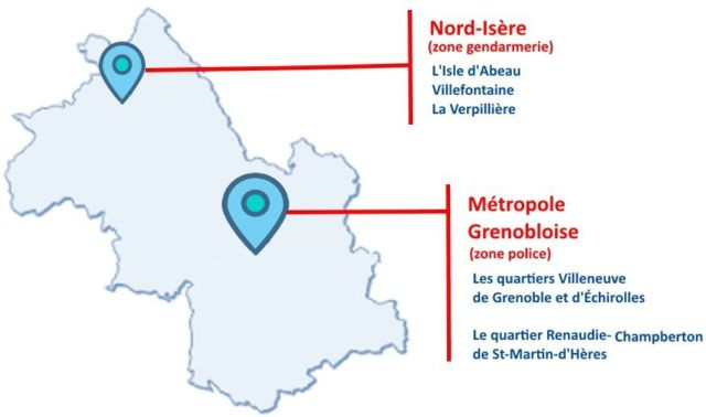 Des effectifs de police de sécurité du quotidien sont annoncés pour Grenoble, mais dans le cadre précis des quartiers de reconquête républicaine.La carte des QRR de l'Isère © Préfecture de l'Isère