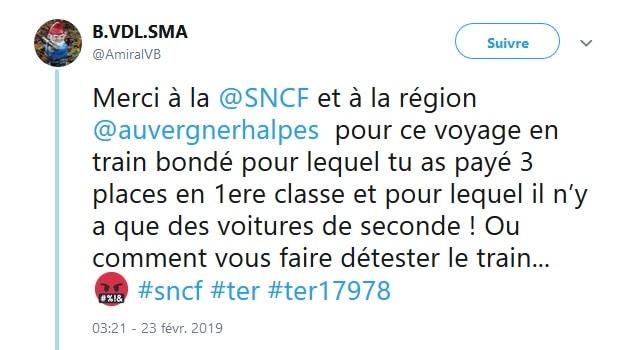 Sur les réseaux sociaux (ici Twitter), les usagers ne manquent pas de dénoncer des trains TER bondés sur les lignes Auvergne-Rhône-Alpes