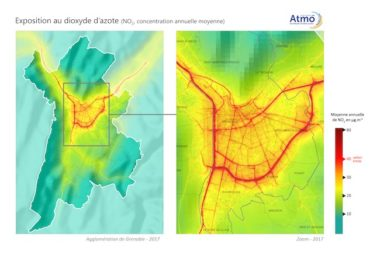 Pour Atmo, le cœur de l'agglomération grenobloise, jusqu'à l'hyper-centre de la ville, est tout autant touché par la pollution au dioxyde d'azote, polluant routier, que les grands boulevards. Seules les zones piétonnes sont épargnées.