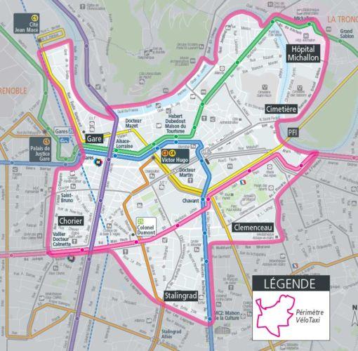 La zone couverte par le service de vélo taxi proposé par la Tag.