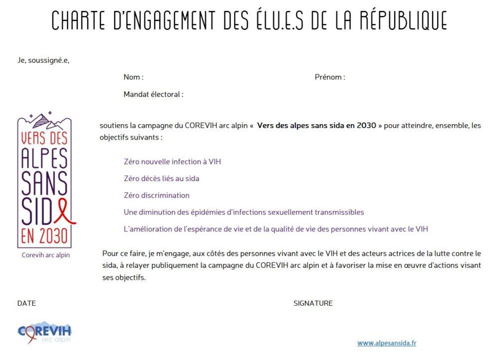 """Charte """"Vers des Alpes sans sida en 2030"""""""