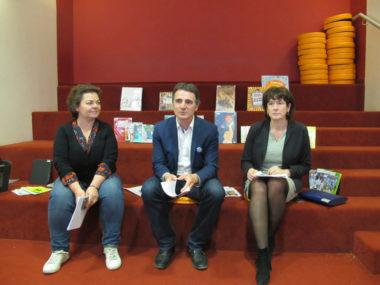 Corinne Bernard, Eric Piolle, Isabelle Westeel, lors de l'annonce de la gratuité dans les bibliothèques. © Séverine Cattiaux -placegrenet.fr