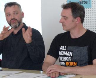 Emmanuel Carroz, Adjoint à l'égalité des droits et à la vie associative, et Eric Piolle, maire de Grenoble © Charles Thiebaud -placegrenet.fr