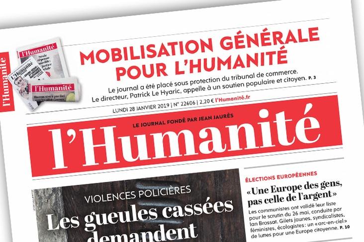Une du journal L'Humanité du 28 janvier 2019 annonçant que le journal est placé sous la protection du tribunal de commerce de Bobigny.