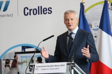 Le ministre de l'Economie Bruno Lemaire a annoncé une aide de l'Etat de près de 900 millions d'euros sur cinq ans dans le cadre du plan Nano 2022 © Patricia Cerinsek