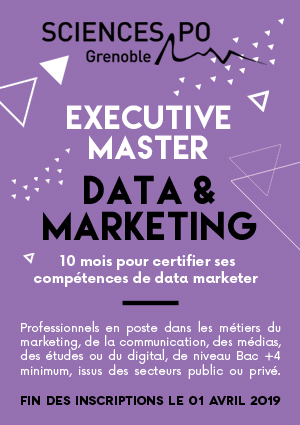 Formation continue Sciences Po Grenoble Executive Master Data & Marketing (inscriptions avant le 1er avril 2019) http://em.sciencespo-grenoble.fr/formation/data-et-marketing/