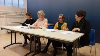 De gauche à droite : Camille Planeix, Magasin des horizons, Charlotte Guibert, CCN2, Marie Roche, Le pacifique. © Joël Kermabon - Place Gre'net