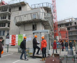 Visite de l'immeuble innovant ABC Grenoble en cours de construction mars 2019 © Séverine Cattiaux -placegrenet.fr