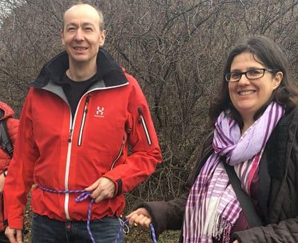 UNE Pascal Clouaire et Gwendoline Delbos Corfield candidats isérois sur la liste EELV de Yannick Jadot pour les élections européennes de mai 2019. Ici, les militants s'encordent pour le climat, lors d'une manifestation à la Bastille à Grenoble, le 9 mars 2019. DR