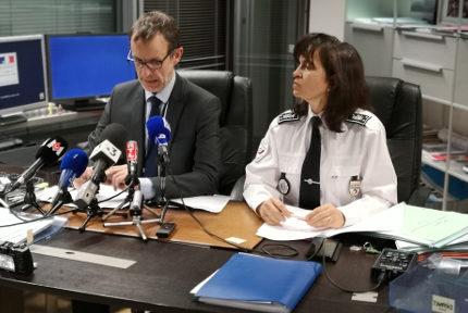 Éric Vaillant, procureur de la Républisue de Grenoble et Nadine La Calonnec, directrice de la DDSP de l'Isère. © Joël Kermabon - Place Gre'net