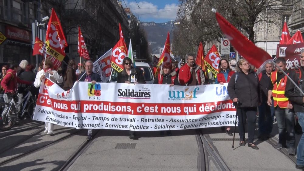 Manifestation unitaire à Grenoble en mars 2019 © Joël Kermabon - Place Gre'net