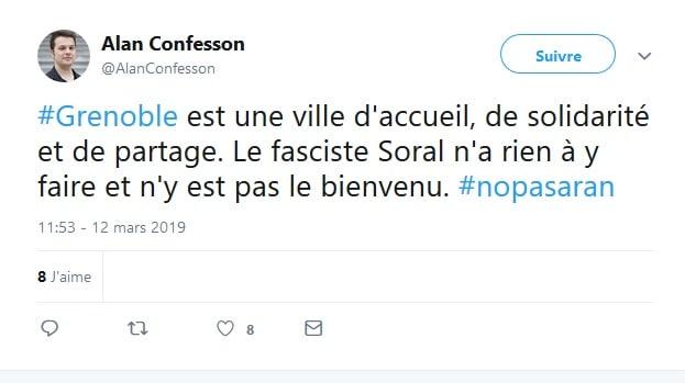 Sur Twitter, le conseiller municipal Alan Confesson ne salue pas la venue d'Alain Soral.