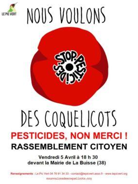 L'association de protection de la nature Le Pic Vert organise un rassemblement contre les pesticides ce vendredi 5 avril devant la mairie de La BuisseL'affiche du rassemblement. DR