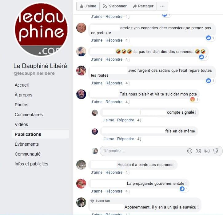Commentaires sur les radars sous un article du Dauphiné libéré