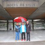 Sebti Rezaigia, agent des espaces verts à Grenoble, entouré de Cherif Boutafa et Patrick Fiorina syncalistes FO © Séverine Cattiaux - Place Gre'net