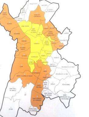L'actuelle zone à faibles émissions de Grenoble (jaune) sera élargie en février 2020 à 18 communes supplémentaires (en orange). N'apparait pas sur la carte, l'A 480, qui déroge aux interdictions de circuler.