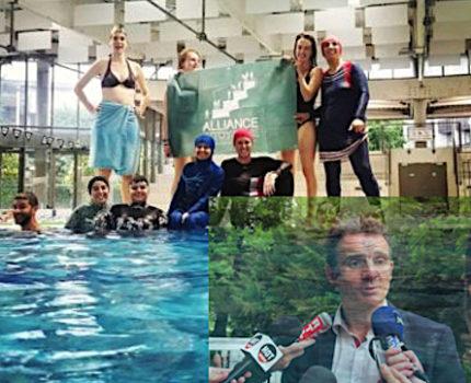 La trempette de femmes vêtues de burkinis dans une piscine municipale de Grenoble n'en finit pas de faire des vagues. Le maire, lui, botte en touche.