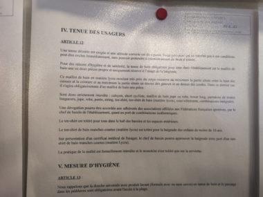 Extrait du règlement intérieur de la piscine Les dauphins. © Joël Kermabon - Place Gre'net