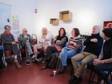 Quelques adhérents, usagers, administrateurs et artistes intervenants à Solexine, mai 2019 © Séverine Cattiaux - Place Gre'net