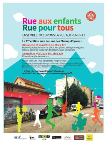 La Ville de Grenoble coupe la circulation rue des Champs-Élysées dimanche 18 mai de 11 à 17 heures pour une opération « Rues aux enfants ».