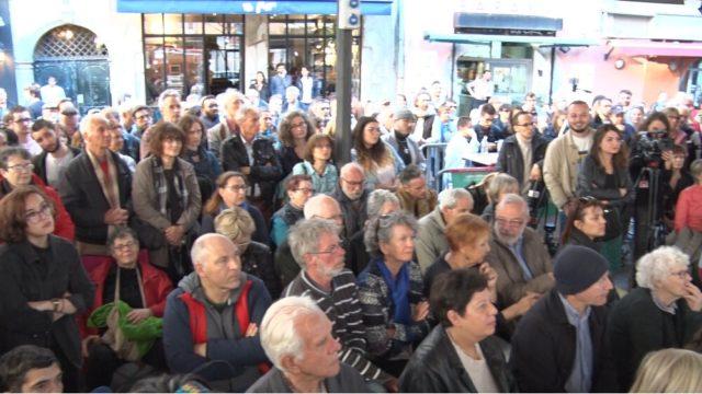 De 150 à 200 personnes ont assisté au meeting de Benoît Hamon. © Joël Kermabon - Place Gre'net