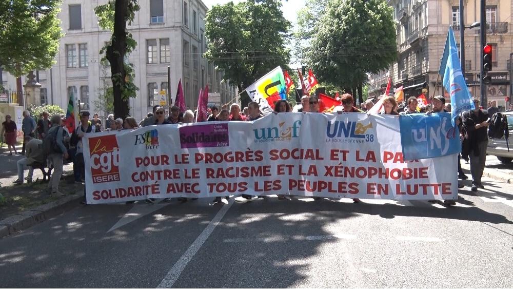 Pas de défilé dans les rues grenobloises pour le 1er mai, comme ici en 2019 © Joël Kermabon - Place Gre'net