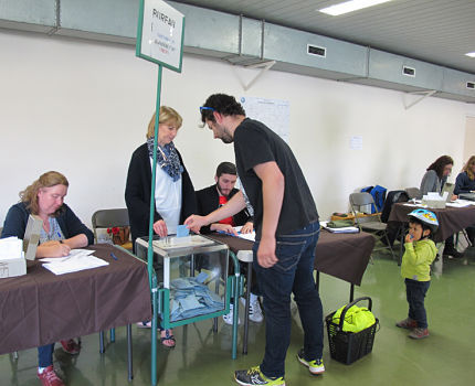 Elections européennes, bureau de vote Bajatière, 26 mai 2019 © Séverine Cattiaux - Placegrenet.fr
