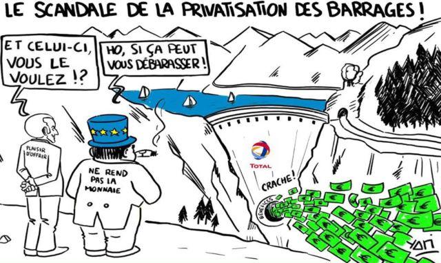 Les opposants à la privatisation usent aussi du dessin d'humour pour faire passer leur message. DR