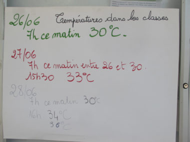Ecole Lucie Aubrac. Canicule fin juin 2019 à Grenoble, les écoles ne sont pas équipées. Malaise, vomissement et saignement de nez chez des enfants et adultes se sont produits dans deux écoles. © Séverine Cattiaux - Placegrenet.fr