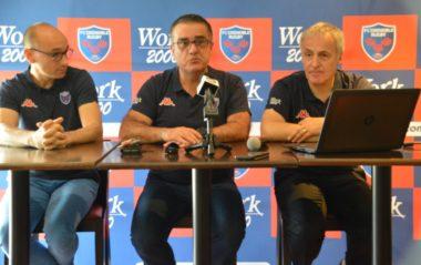 Franck Corrihons, Michel Martinez, Eric Pilaud du FC Grenoble rugby lors d'un point presse au stade Lesdiguières mercredi 26 juin. © Laurent Genin