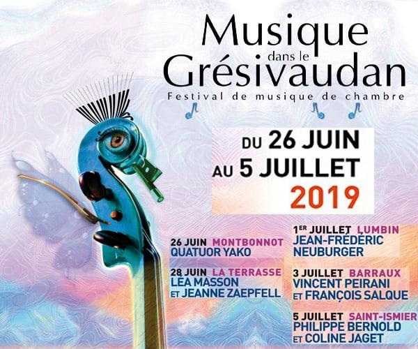 Festival de musique de chambre Musique dans le Grésivaudan du 26 juin au 5 juillet 2019