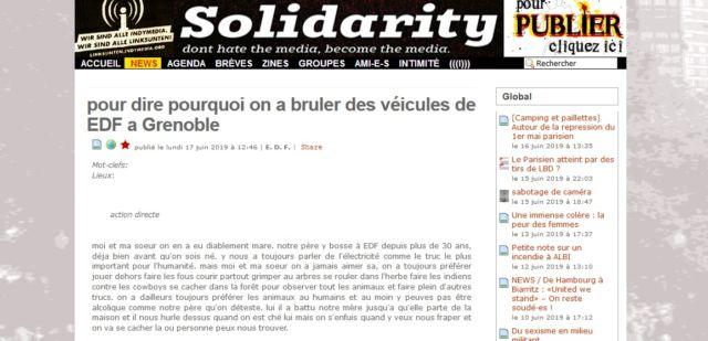 """Le texte de """"revendication"""" a été publié sur Indymedia Nantes en fin de matinée."""